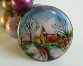 RESERVED Incredibly Detailed Hand Painted Enamel Brooch with Country Road Church Scene- Copper Circular Quaint Handmade Crafted Colourful