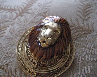 Vintage copper and goldtone lion brooch.  Pin.