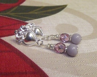 Earrings Silver Plated Pink Lilac Czech Glass Faceted Clear Fancy New Posts New Gift Boxed New