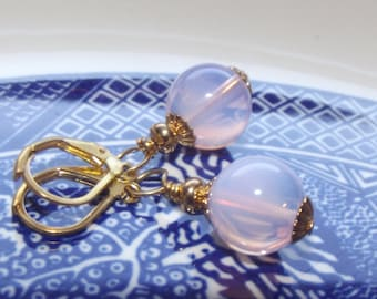 Pink Opalite Earrings - Gold Earrings - Bridesmaid Earrings - Pink Earrings - Handmade Earrings - Moon stone earrings - Pink Jewelry