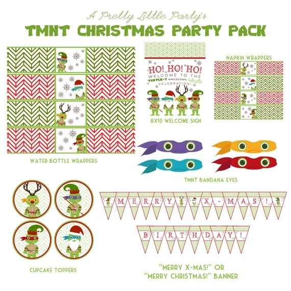 TMNT X-Mas Party Pack - Teenage Mutant Ninja Turtles - Ninja - Party Supplies