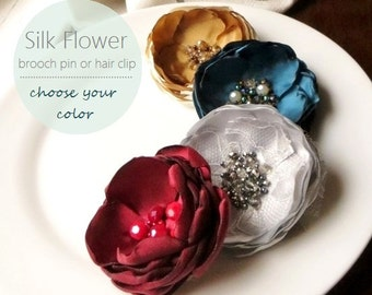 PICK 1 Large Silk Fabric Flower Brooch, Satin Flower Pins for Her, Floral Fashion Accessory, Fall Brooches, Crystal Broach Pin, Womens Gift
