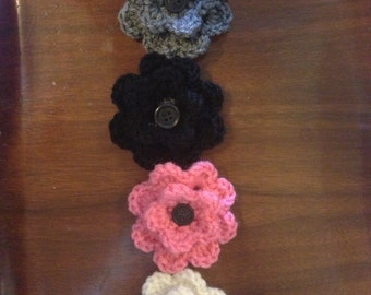 Crochet flower clips