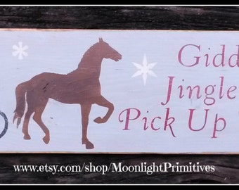 Christmas Signs, Wooden Signs, Giddy Up Jingle Horse, Christmas Horses