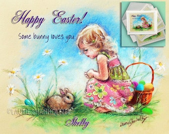 Easter Bunny, personalized version BABY BUNNY plus 2 or 5 note cards with  photo, add names and sentiment, Digitally enhanced for Easter