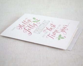 Christmas Card Set - Holly Jolly Christmas - Script Christmas Greeting Card - Winter Holiday Card