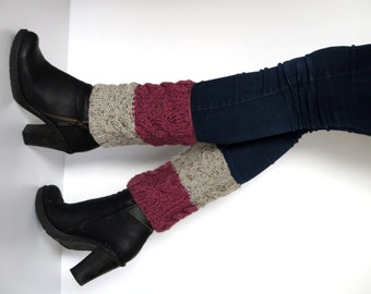 Knit Boot Cuff, 2 in 1 Knit Boot Cuff, Cable Knit Leg Warmers, Knitted Boot Socks, Boot Toppers, Chunky Cuffs, burgundy pale, ivory,