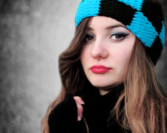 Turquoise Black Plaid Headband, Knitted Square Design Ear Warmer, Chunky Cozy Ear Warmer, Hair Covering for Women head wrap, Gifts For Her