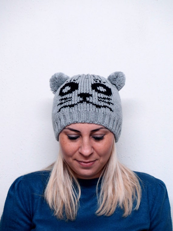 Knitting Funny Hats : Items similar to animal hats cat knitting hat pom
