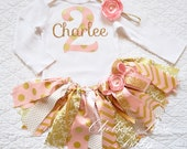 Birthday Outfit, Birthday tutu, 1st Birthday Outfit, Girls Birthday set, Gold Birthday Outfit, Pink gold tutu, Birthday shirt, fabric tutu
