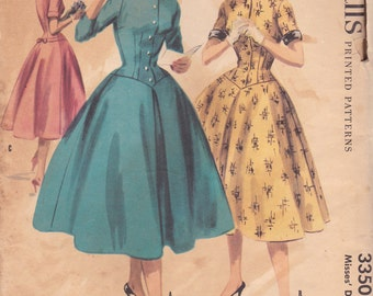 1950s Button Front Dress Pattern McCalls 3350 Size 12 Uncut