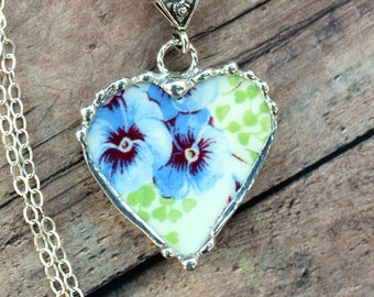 Necklace, Broken China Jewelry, Broken China Necklace, Heart Pendant, Pansy Chintz, Sterling Silver, Soldered Jewelry