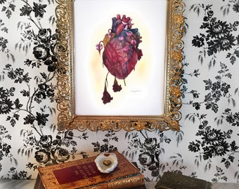 Alas! For My Poor Heart- art, anatomy, floral, heart