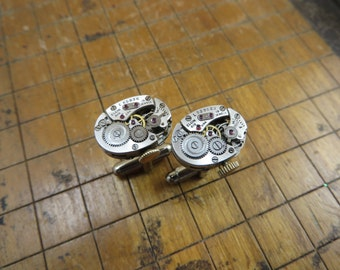 Elgin 619 Watch Movement Cufflinks. Great for Fathers Day, Anniversary, Wedding or Just Because.  #329
