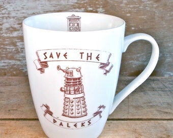Save The Daleks Mug,  Doctor Who Large Coffee Mug, Sci Fi Coffee Cup, 14 oz, Doctor Who, Police Box, Teacup Geek Nerd Tea
