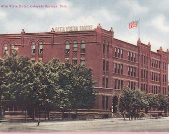 "Ca. 1912 ""Alta Vista Hotel"" Colorado Springs, CO Topographical Picture Postcard - 1471"