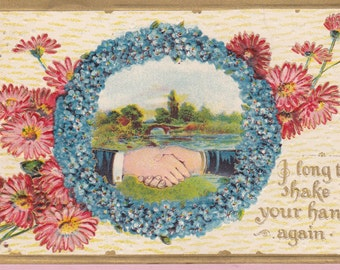 "Ca. 1913 ""Handshakes"" Friendship Greetings Postcard - 1818"
