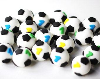 Fondant soccer ball toppers. Soccer ball fondant toppers. Sports fondant toppers. Soccer toppers.