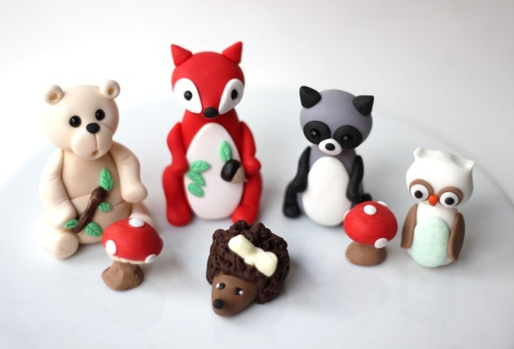 Cake Decoration Woodland Animals : Woodland Birthday Party Edible Cake Decorations Birthday ...