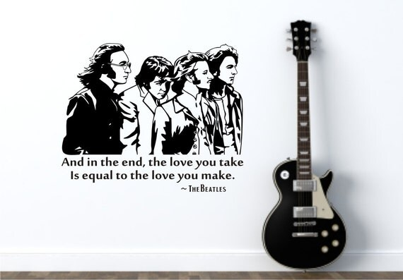 items similar to the beatles and in the end 22 w x 18 h music vinyl wall decals on etsy. Black Bedroom Furniture Sets. Home Design Ideas