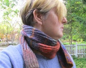 super skinny, long skinny scarf, hipster scarf, brioche knit scarf, striped muffler, ribbed scarf