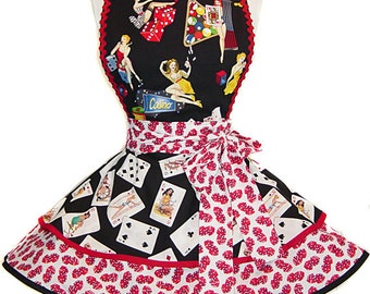"Ready To Ship ""Tumblin' Dice"" Pinup/Diner Style Apron -- A  Tie Me Up Aprons 2015 Exclusive Design"