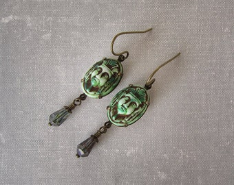 MADE TO ORDER Egyptian Revival Jewelry - King Tut Earrings - Ancient Pharaoh Death Mask Cameo - Moss Green