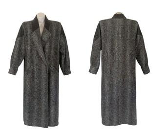 Long Winter Coat 80s Coat Winter Coat Wool Women Winter Coat Long Brown Coat Herringbone Coat Tweed Coat Ladies Coat Women Outerwear