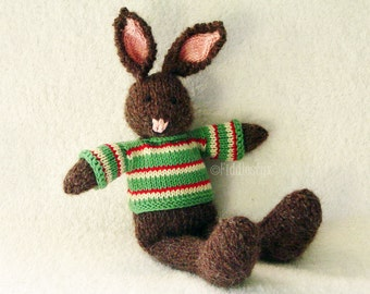 Knitted Toy - Stuffed Animal - Knitted Bunny - Hand Knit Toy - Kids Christmas Toy Knitted Rabbit - Waldorf Toy - Hand Knitted Animal - PERCY