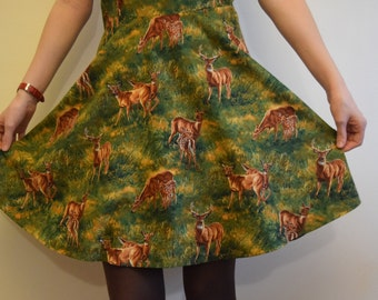 Handmade novelty dress - deer print - Unique Just one available