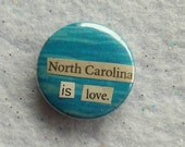 Love North Carolina magnet - OOAK Unique upcycled handmade 1 inch fridge flair decor, NC state UNC tar heels Duke gift Nccu Chapel Hill
