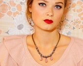 Spring Statement Necklace, Gray + Pink Necklace, Czech Glass Necklace, Vintage Inspired Necklace