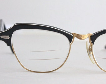 Vintage 50's Black Horn Cat Eye Eyeglasses