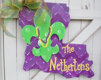Personalized Mardi Gras Louisiana Wooden Door Hanger Fleur de Lis