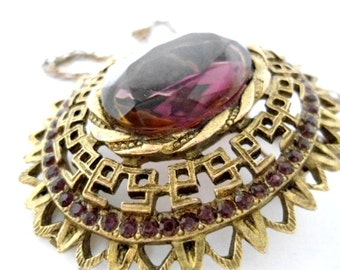 Large Vintage Smoky Stone Necklace / Brooch in a Very Detailed Brass Frame with 45 plus Smokey Stones Surrounding the Perimeter