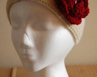 Wool Ear Warmer, Headband with Flower, Crochet Ear Warmer, Winter Headband, Ear Warmer for Women, Womans Headwarmer, Ecru Ear Warmer