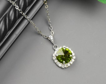 Olive Green Necklace - Silver Green Swarovski Crystal Bridesmaid Jewelry - Dark Green Bridesmaid Necklace - Wedding Jewelry - Bridal Jewelry