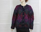 Vintage Mohair Blend Cardigan Pitlochry Size Large/X Large Purple