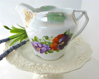 Pansy Creamer Vintage Art Deco Rare Bavarian Porcelain Gold Trim Lehmann Arzberg Potters Bavaria 1920s