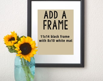 Add a Frame- Add an 11x14 Black Frame and White Mat to your 8x10 print