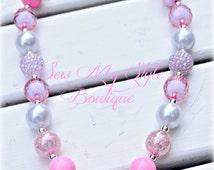 SALE-Chunky Bubblegum Beaded Necklace/Valentine Pink Heart Pearl Bubblegum Bead Necklace