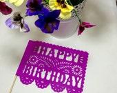 """10 """"Happy Birthday"""" Papel Picado Flags - Banderitas"""