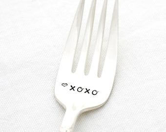 XOXO hand stamped dessert fork by milk & honey.