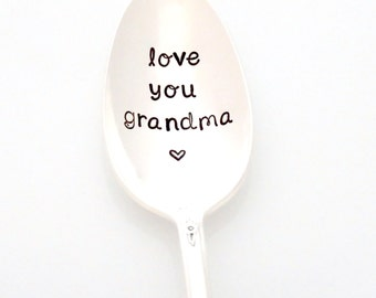 Love You Grandma, Stamped Spoon. Coffee Lover Mother's Day Gift Idea by Milk & Honey. Grandma's Tea or Coffee.