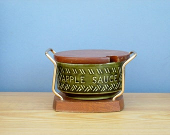 Retro Wyncraft Apple Sauce Dish Pot and Stand Made by Lord Nelson Pottery England Vintage Kitchen Serving