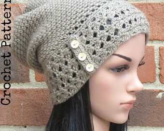 CROCHET HAT PATTERN Instant Pdf Download - Aerith Slouchy Beanie Hat Womens Teen Fall Winter- Permission to Sell English Only