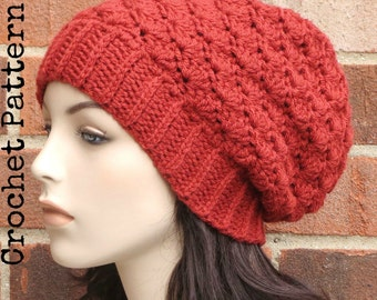 CROCHET HAT PATTERN Instant Pdf Download - Cadence Slouchy Beanie Hat Womens Teen Fall Winter- Permission to Sell English Only