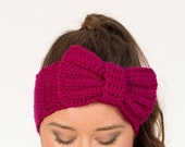Magenta Knit Bow Headband / Large Bow Earwarmer Crocheted, Handmade Womens Accessory, Warm, Soft, Winter Knit