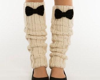 SALE--Oatmeal and Black Bow Knit Leg Warmers, Crocheted Boot Socks, Handmade Womens Warm, Winter Accessory, Dance Wear, Exercise, Ballet