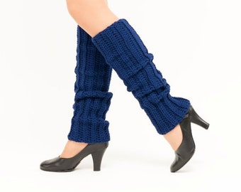Navy Knit Leg Warmers, Crocheted Leggings, Handmade Women's Warm, Soft, Winter Accessory, Dance Wear, Exercise, Ballet, 80's Style